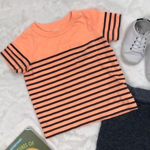 Neon Orange Striped Tee with Pocket